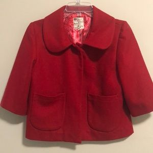 Anthropology Tulle Jacket Cropped Red Wool  SZ XL